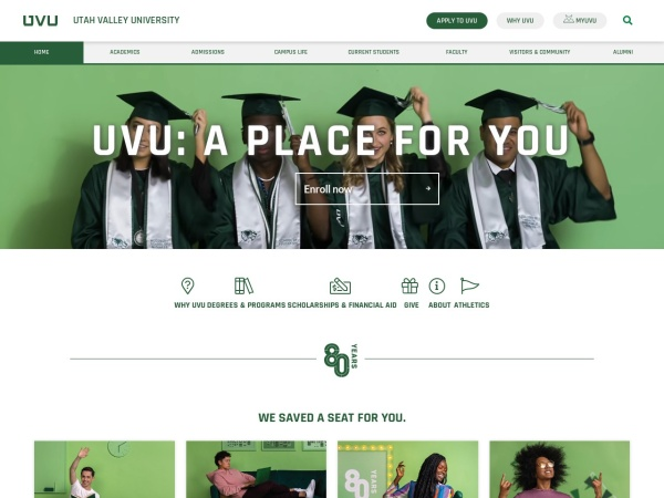 Screenshot of www.uvu.edu