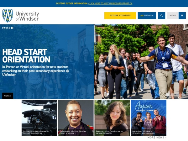 Screenshot of www.uwindsor.ca