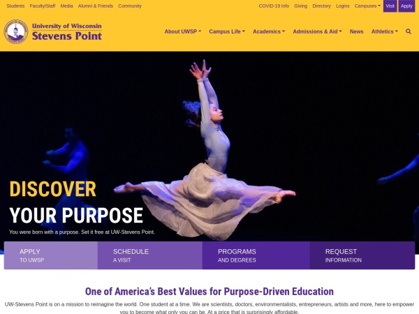 Screenshot of www.uwsp.edu