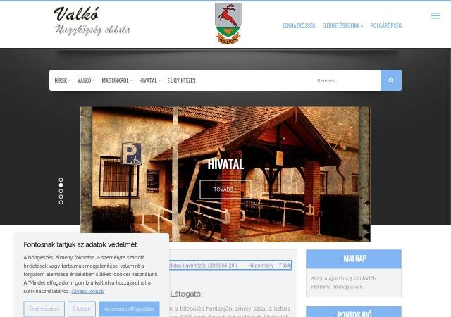 Screenshot of www.valko.hu