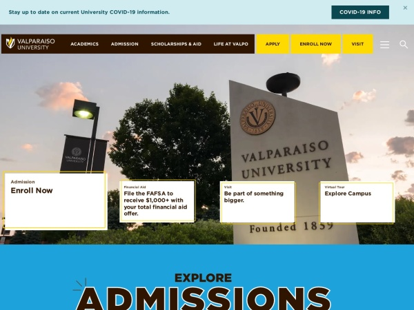 Screenshot of www.valpo.edu