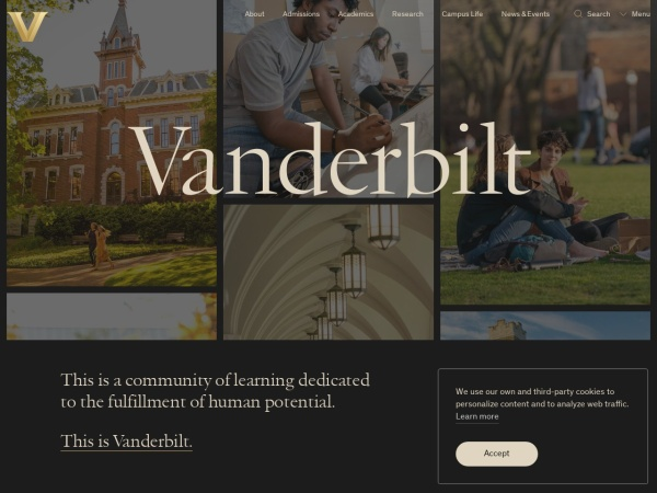 Screenshot of www.vanderbilt.edu