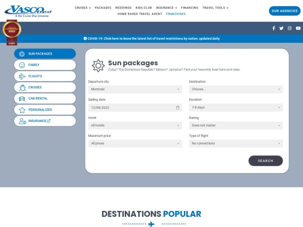 Screenshot of www.vascotravel.com