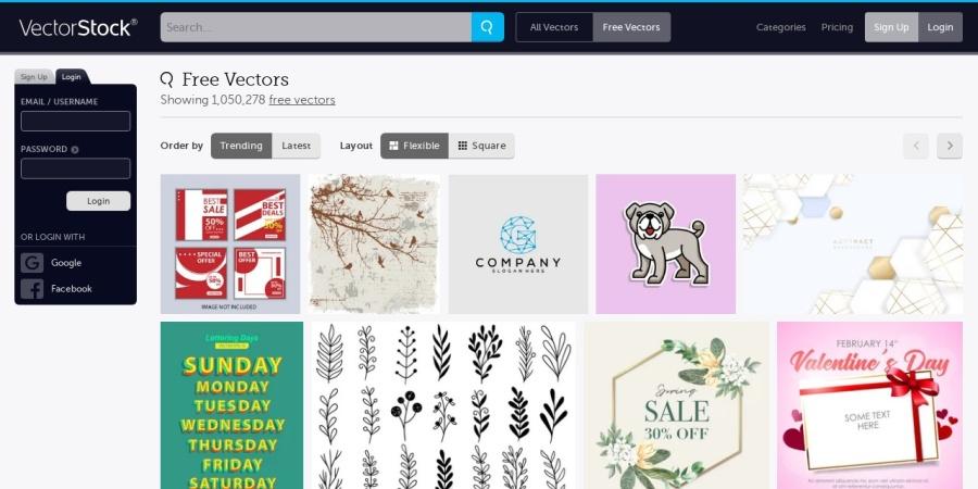 Screenshot of www.vectorstock.com