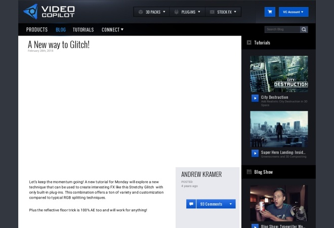 Screenshot of www.videocopilot.net
