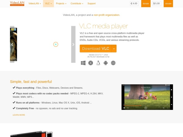 Screenshot of www.videolan.org