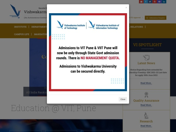 Screenshot of www.vit.edu