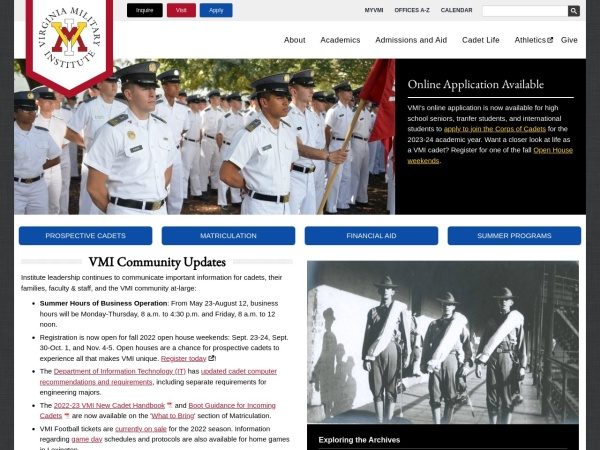 Screenshot of www.vmi.edu