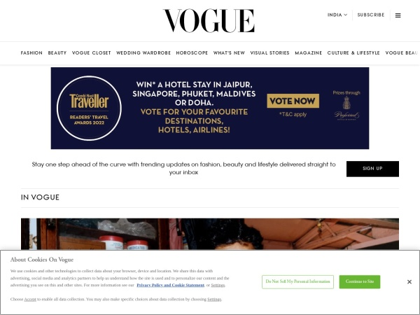 Screenshot of www.vogue.in