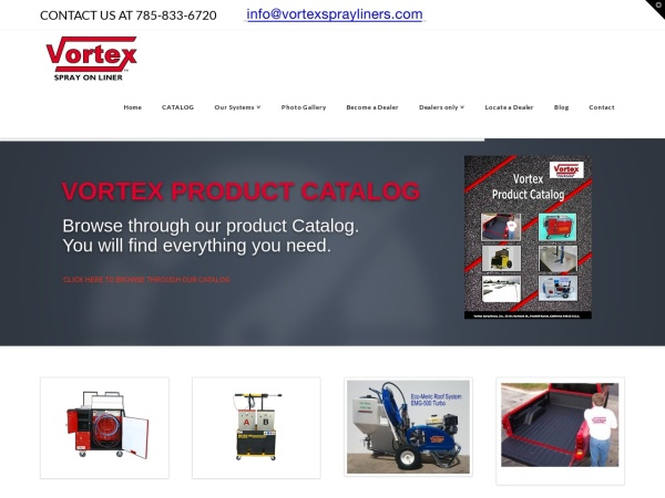 Screenshot of www.vortexsprayliners.com