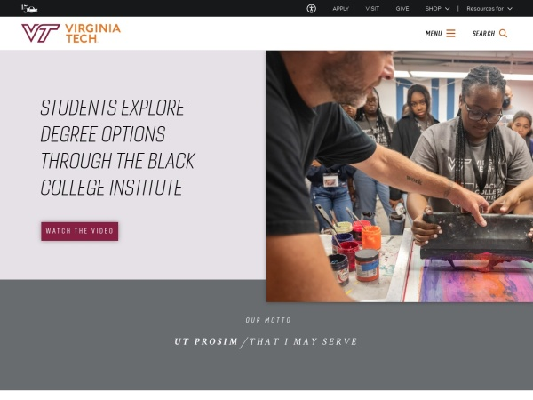 Screenshot of www.vt.edu
