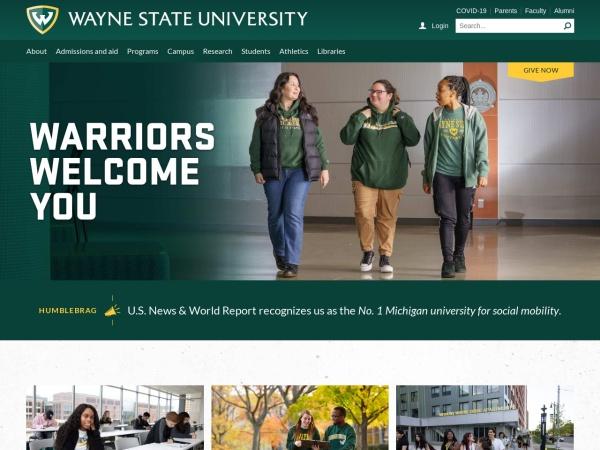 Screenshot of www.wayne.edu