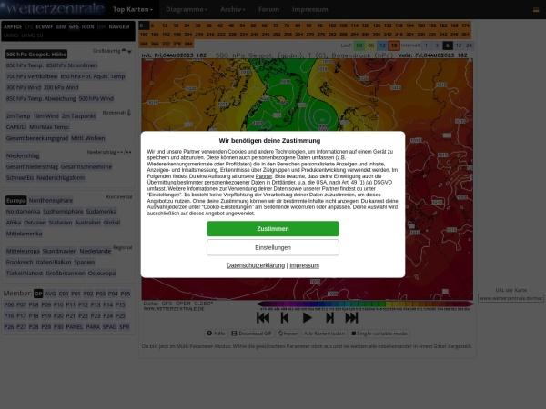 Screenshot of www.wetterzentrale.de