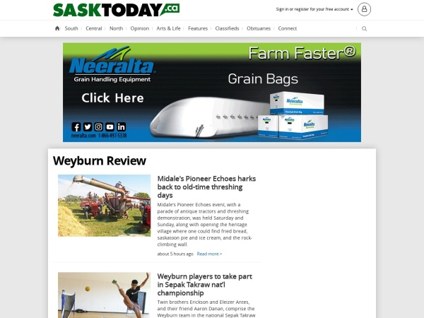 Screenshot of www.weyburnreview.com