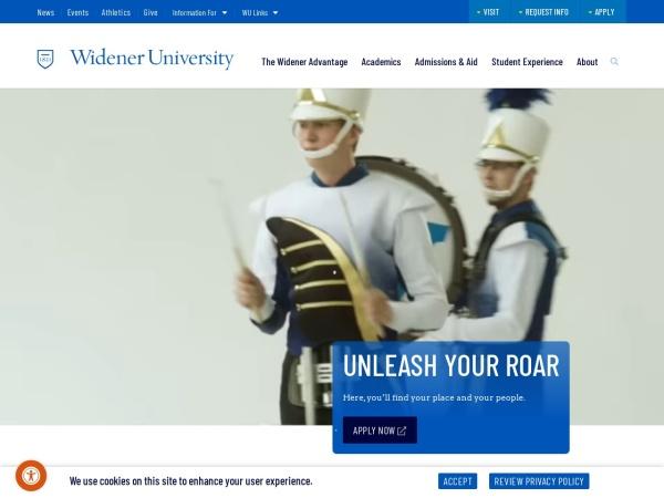 Screenshot of www.widener.edu