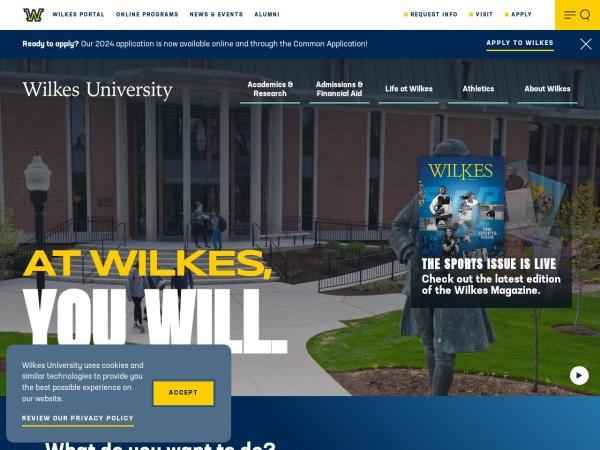 Screenshot of www.wilkes.edu