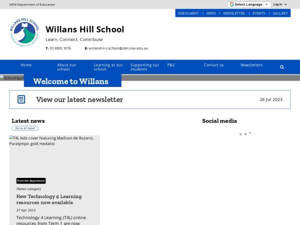 Screenshot of www.willanshil-s.schools.nsw.edu.au