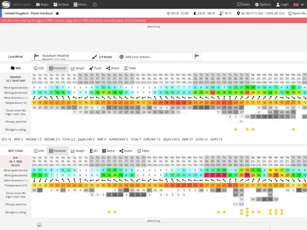 Screenshot of www.windguru.cz
