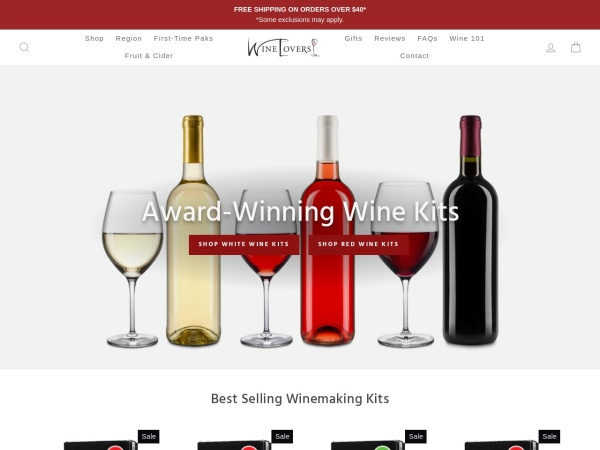 Screenshot of www.wineloversonline.com