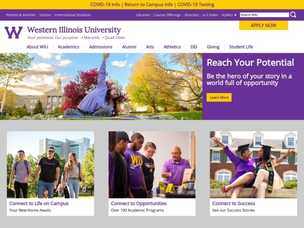 Screenshot of www.wiu.edu