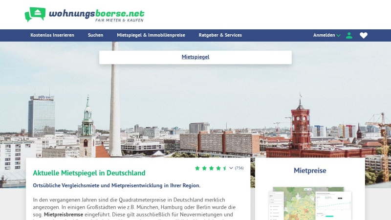 Screenshot of www.wohnungsboerse.net