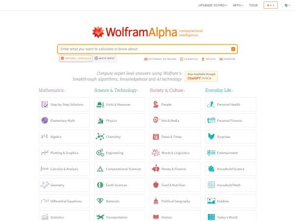 Suchmaschine WolframAlpha.com