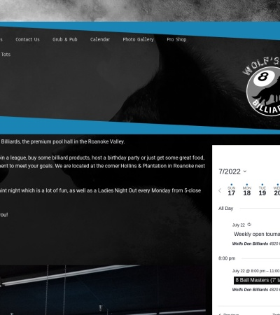 Screenshot of www.wolfsdenbilliards.site
