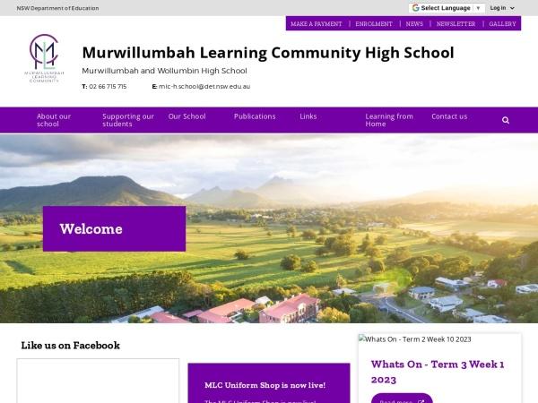 Screenshot of www.wollumbin-h.schools.nsw.edu.au