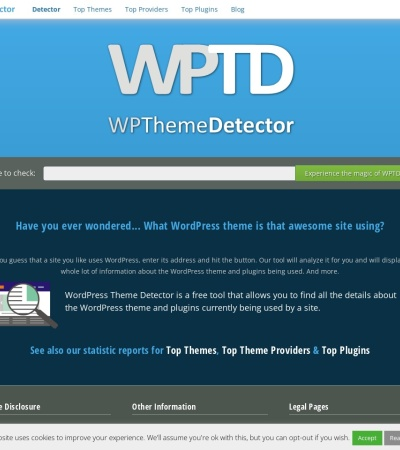 Screenshot of www.wpthemedetector.com