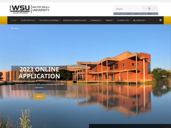 Screenshot of www.wsu.ac.za
