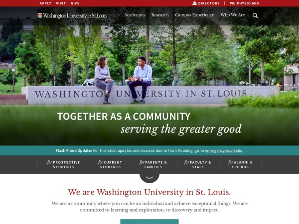 Screenshot of www.wustl.edu