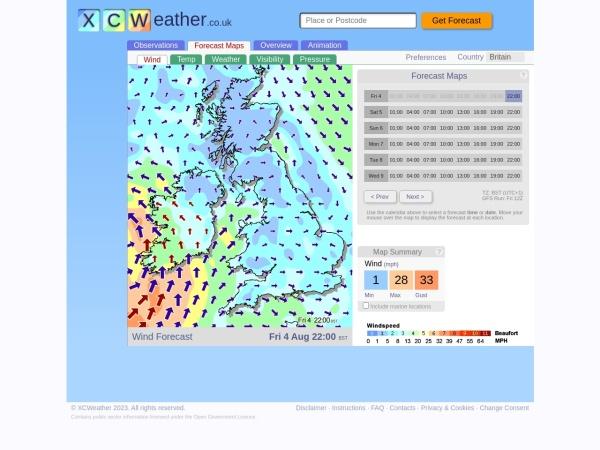 Screenshot of www.xcweather.co.uk