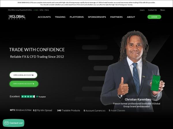 Screenshot of www.xglobalmarkets.com