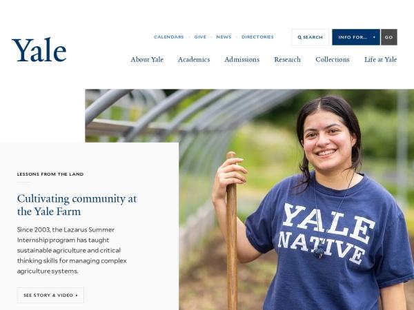 Screenshot of www.yale.edu