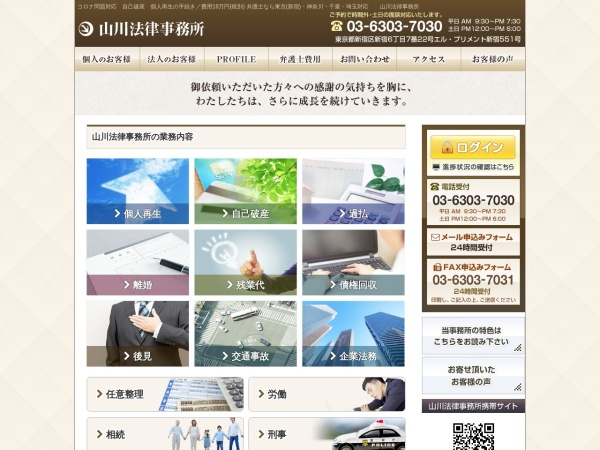 Screenshot of www.yamakawa-law.gr.jp