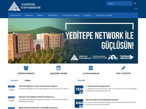 Screenshot of www.yeditepe.edu.tr