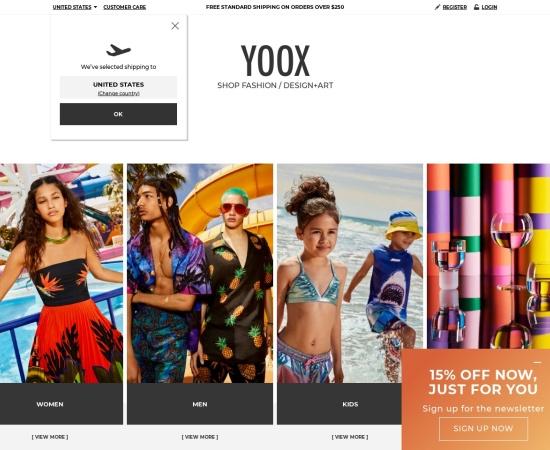 Screenshot of www.yoox.com