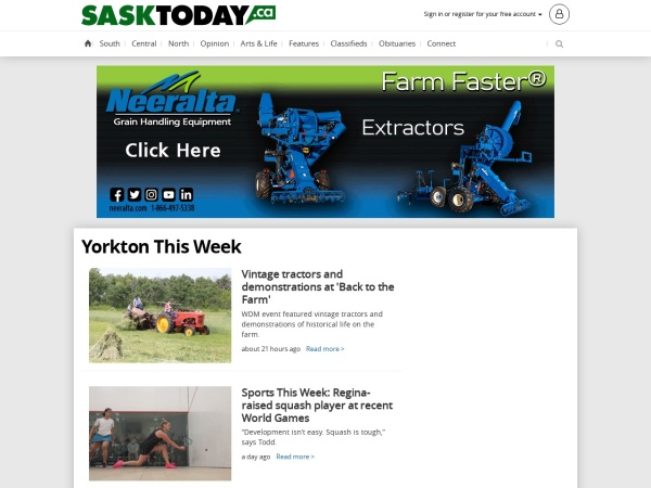 Screenshot of www.yorktonthisweek.com