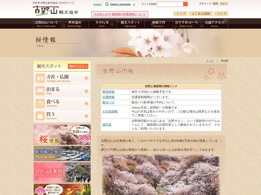 http://www.yoshinoyama-sakura.jp/sakura.php