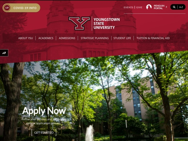 Screenshot of www.ysu.edu