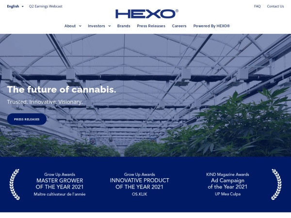 Screenshot of www.zenabis.com