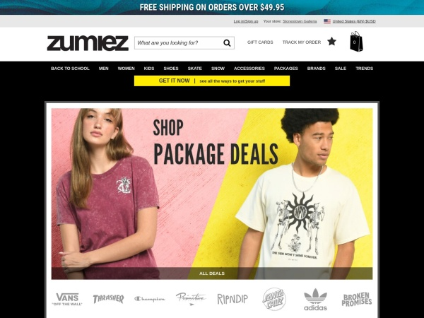 Screenshot of www.zumiez.com