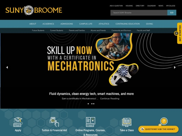 Screenshot of www1.sunybroome.edu