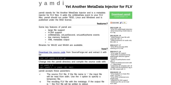 Screenshot of yamdi.sourceforge.net