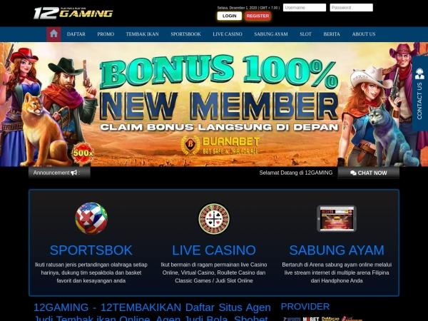 12tembakikan.link website capture d`écran Situs Agen Judi Tembak Ikan, Taruhan Bola, Sabung Ayam dan Slot Online