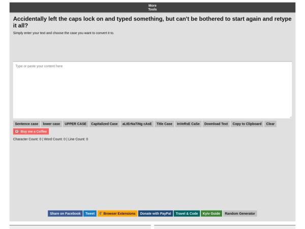 convertcase.net website captura de tela Convert Case | Convert upper case to lower case, lower case to upper case and more!