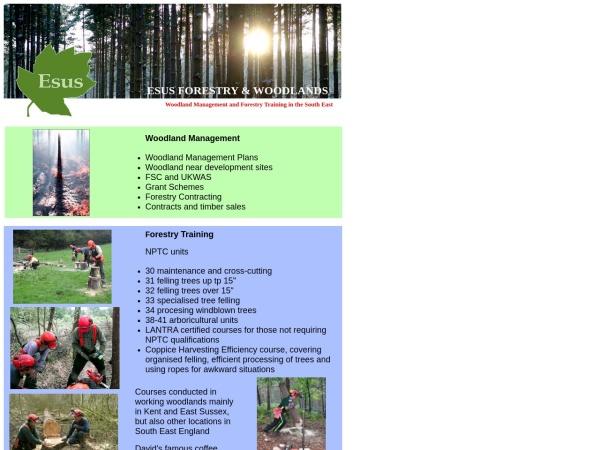 esusforestry.co.uk website screenshot Welcome to Esus Forestry & Woodlands