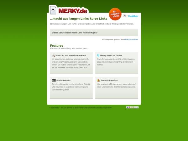 merky.de website ekran görüntüsü Merky - macht aus langen Links kurze Links