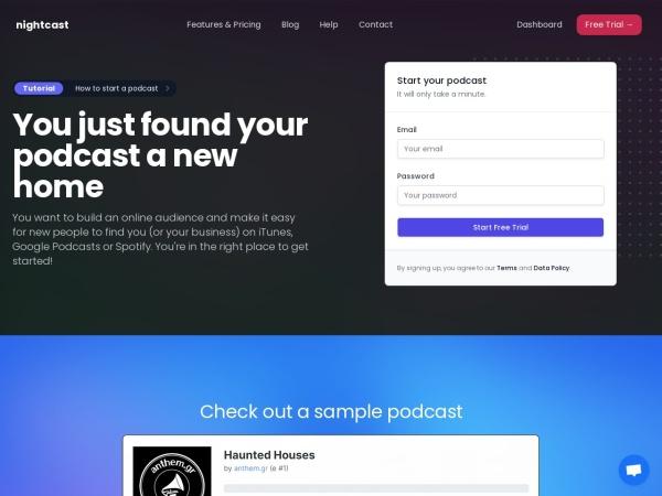nightcast.net website ekran görüntüsü nightcast | podcast hosting and publishing
