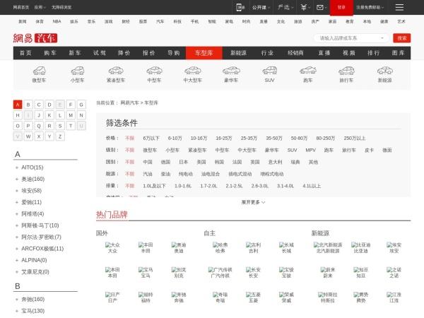 product.auto.163.com的网站截图